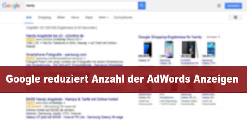 Google reduziert Anzahl der AdWords Anzeigen